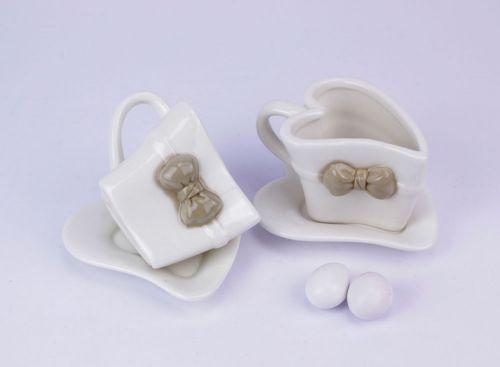 Set 2 tazze cuore in porcellana bomboniera matrimonio