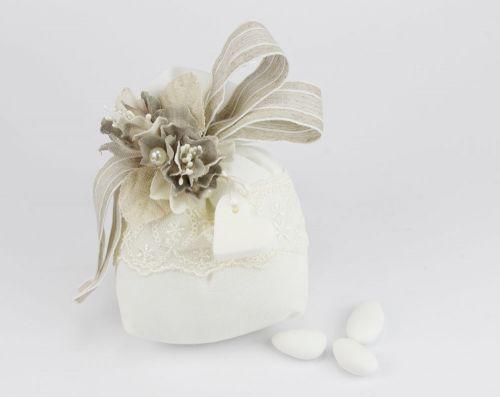 Saccoccino portaconfetti + cuoricino saponetta Bomboniera Matrimonio linea CHIARA - Joel