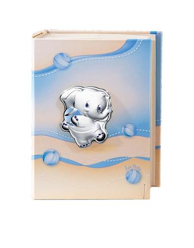 Album portafoto con elefantino e palla in celeste - 15x20cm