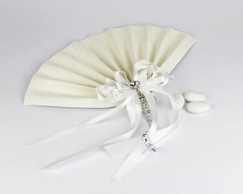 Segnaposto / Portaconfetti ventaglio con strass per Matrimonio