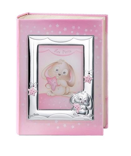 Album portafoto con cornice (13x18cm) con coniglietto in rosa - 20x25cm