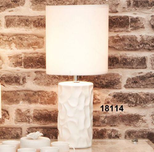 Lampada con base in ceramica bianca