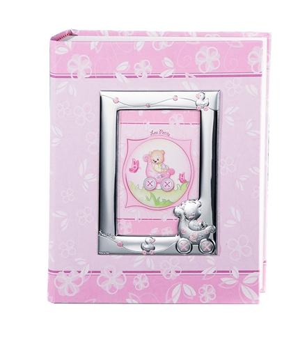 Album portafoto con cornice (9x13cm) con orso in carrozzina e paperelle in rosa- 20x25cm