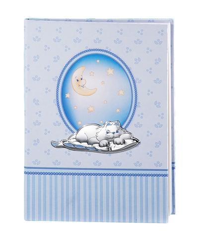 Album portafoto + diario 6 anni con gattino e stelline in azzurro - 22x30cm