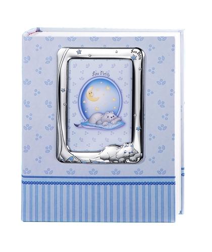 Album portafotografie con cornice (9x13cm) con gatto e stelline in azzurro - 20x25cm