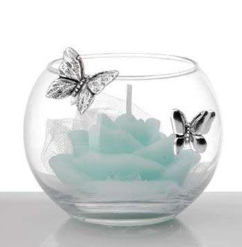 Profumatore Crystal ball con farfalle e candela bomboniera matrimonio - Memory 2016