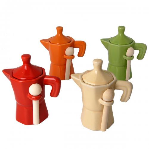 Barattolo Caffettiera in porcellana colorata con cucchiaino legno