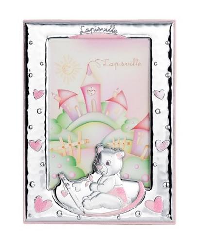 Cornice portafoto 9x13 con orsetto che scrive in rosa