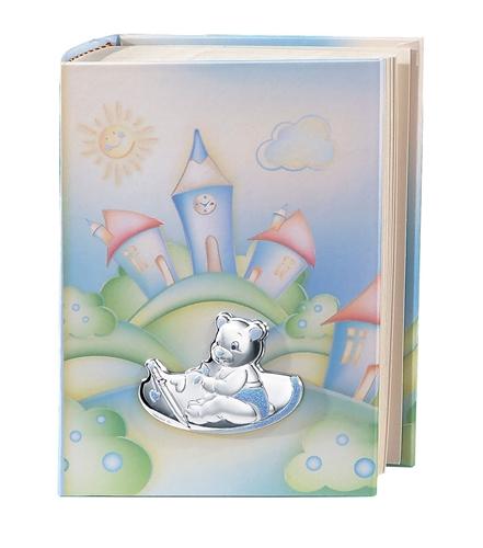 Album portafoto con orsetto che scrive in azzurro- 15x20cm