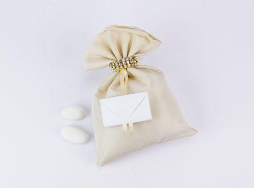 Sacchetto portaconfetti con strass dorati