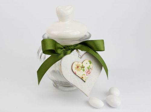 Barattolo porta confetti in vetro con tappo cuore - matrimonio