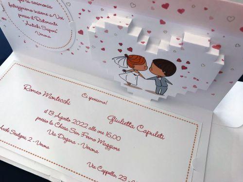 Partecipazione cartoon sposi