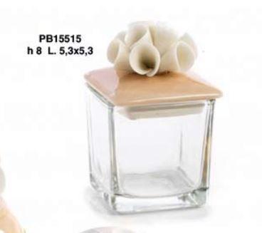 Scatolina con tappo porcellana fiore porta confetti - Mandorle