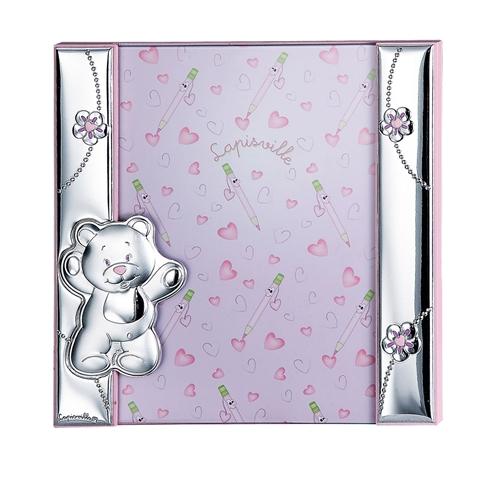 Portafoto a giorno 21x21 con orsetto e fiorellini in rosa