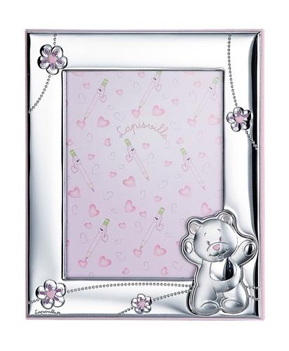 Portafoto 13x18 con orsetto e fiorellini in rosa