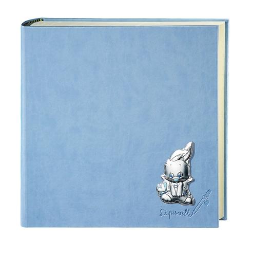 Album portafoto con coniglio e farfalle in celeste - 30x30cm