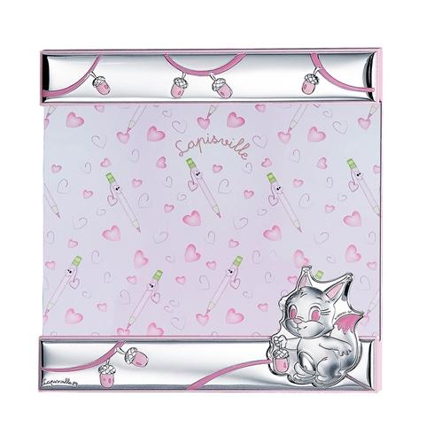 Portafoto a giorno 21x21 con scoiattolo e ghianda in rosa