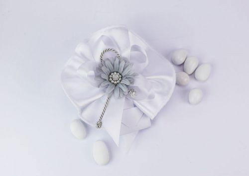 Sacchetto portaconfetti in seta fiore grigio Gioia