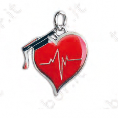 Ciondolo cuore/frequenza battito - Bomboniera laurea