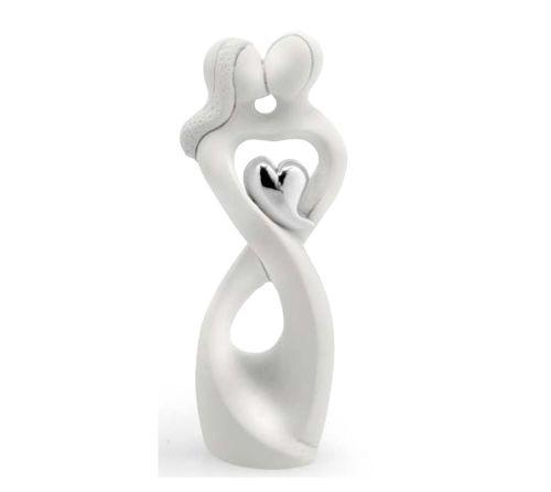 Coppia sposi stilizzata in resina con cuore bomboniera matrimonio - Memory 2016
