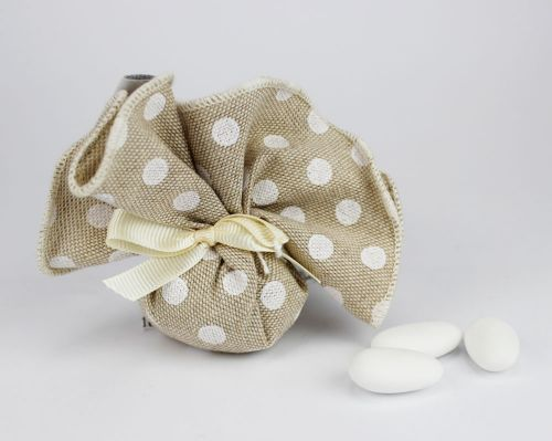 Sacchetto portaconfetti pois linea MANU- per matrimonio o prima comunione