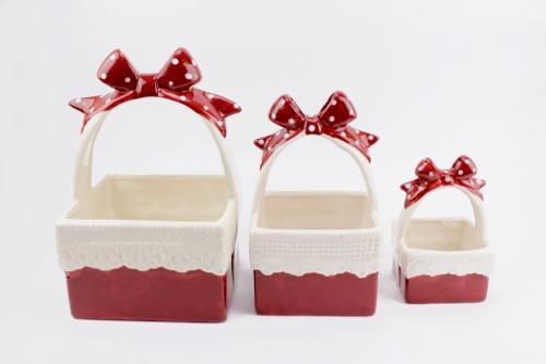 Bomboniere Matrimonio Periodo Natalizio : Cestino natalizio in porcellana di cristofalo bomboniere