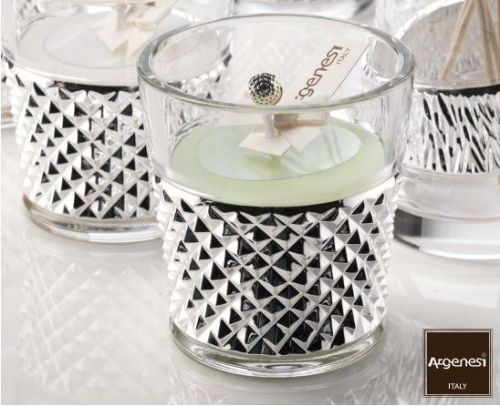 Vasetto portacandela GRIFFE in cristallo e argento - Argenesi