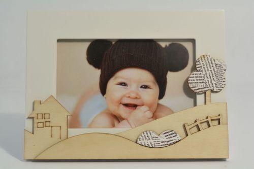 Portafoto bimbi con decoro casetta
