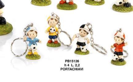 Portachiavi Bambino e palla da calcio - Mandorle