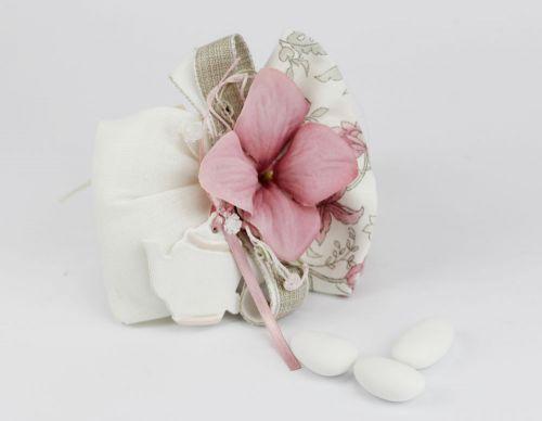 Sacchettino portaconfetti con fiore e teiera Bomboniera Nozze linea FIOR DI LOTO - Joel
