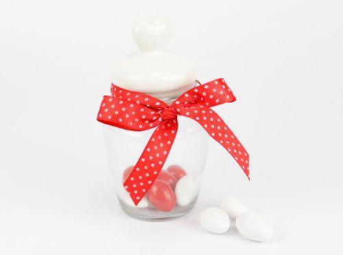 Barattolo portaconfetti in vetro con tappo cuore - bomboniere