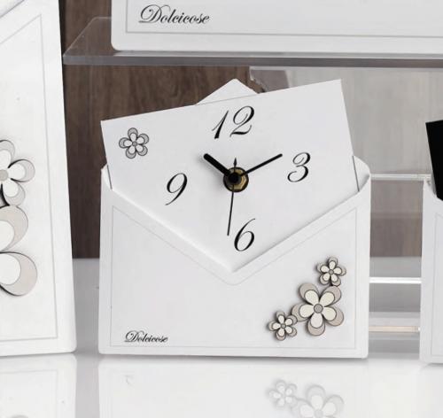 Bomboniera orologio lettera con fiori Charlotte