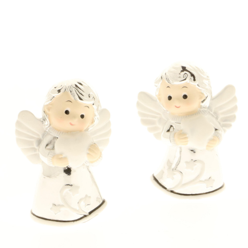 Angeli in resina argentata