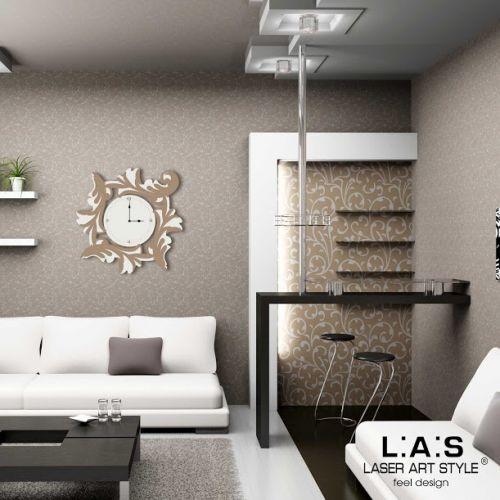 Orologio da muro con forme astratte rami e foglie - Laser Art Style