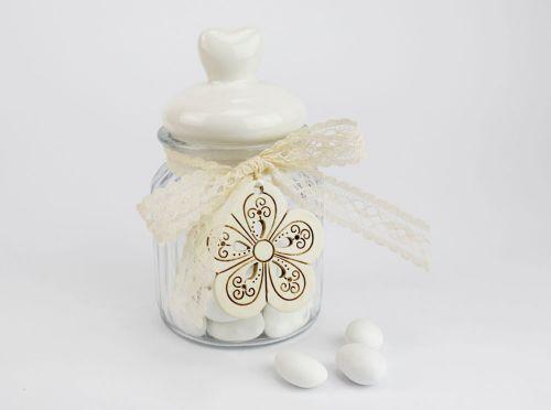 Barattolo porta confetti con tappo cuore - nozze