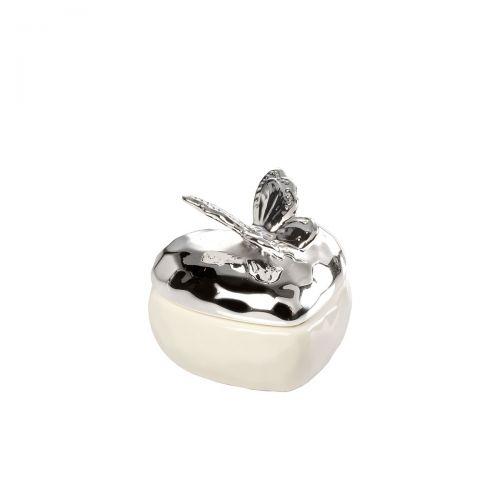 Bomboniera farfalla in porcellana e argento matrimonio