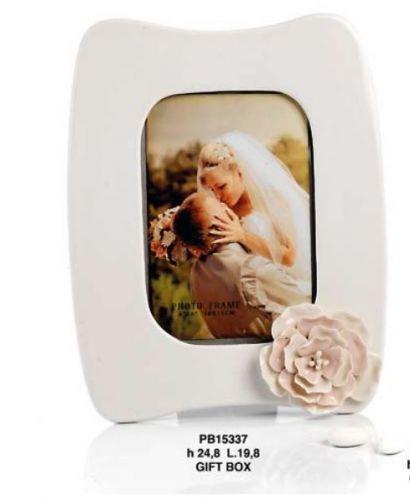 Portafoto con fiore in porcellana rosa - Mandorle