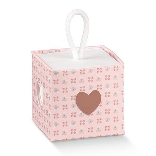 Scatolina portaconfetti rosa con laccio