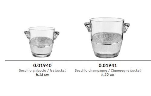 Secchiello ghiaccio champagne in cristallo GRIFFE e argento puro - Argenesi