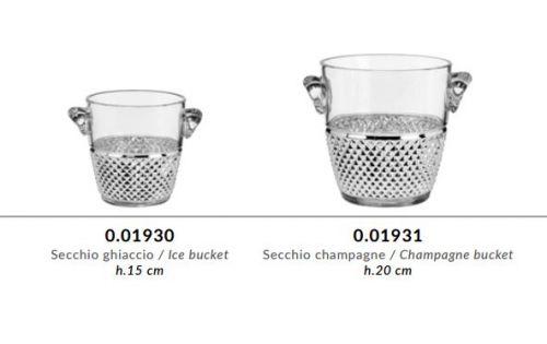 Secchiello ghiaccio in cristallo GRIFFE e argento puro - Argenesi