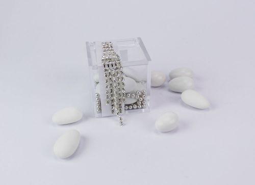 Scatolina portaconfetti con strass argentati Gioia