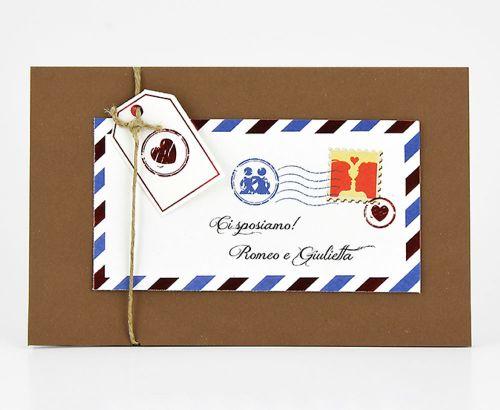 Partecipazioni per matrimoni busta francobollo viaggio