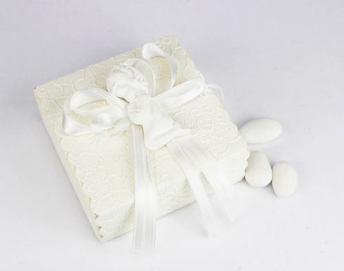 Scatolina porta confetti con bimba bianco - bomboniera per Nascita bimba o Battesimo