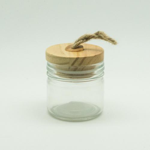 Barattolino portaconfetti tappo legno e corda