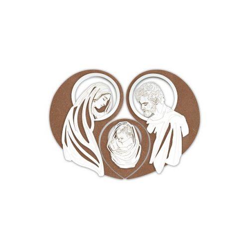 Quadro moderno legno Sacra Famiglia stilizzata - Laser Art Style