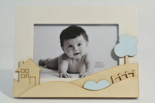 Portafoto bimbo con decoro casetta
