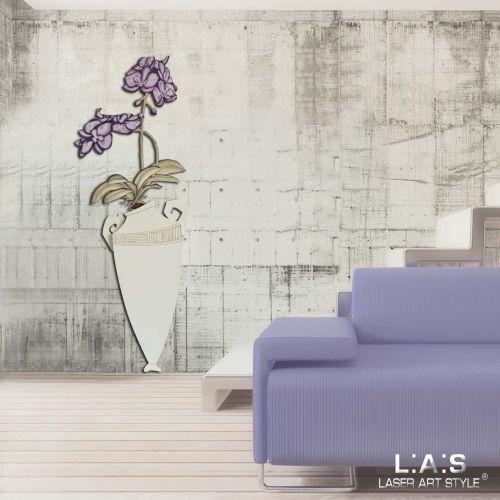 Scultura da bassa parete design moderno - Vaso con fiori Laser Art Style