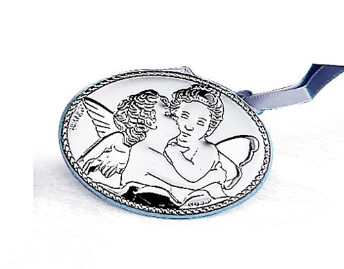 Medaglione per culla ovale raffingurante un Bacio di angeli