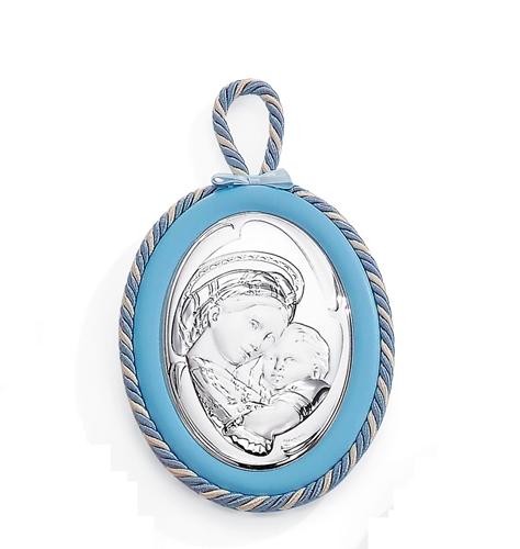 Medaglione per culla in argento - Madonna della seggiola
