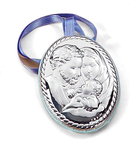 Medaglione ovale raffigurante la Sacra famiglia - cordoncino inciso - 6x9cm